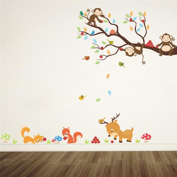 Acheter En Gros Dessin Anime Foret Arbre Animal Singe Cerf Ecureuil Mur Stickers Pour Enfants Chambres Enfants Chambre Sticker Mural Decor A La Maison