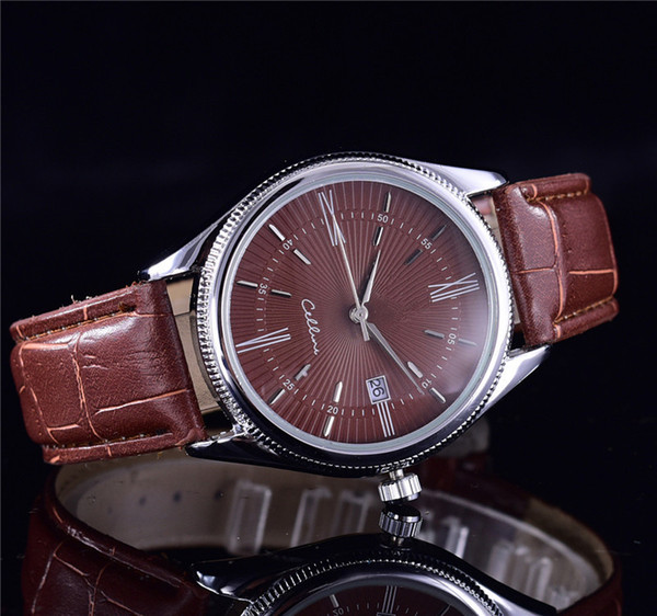 TOP Moda aço inoxidável de quartzo relógio de couro de homem japão movimento relógio rosa de ouro relógios de pulso vida marca à prova d 'água relógio masculino hot items