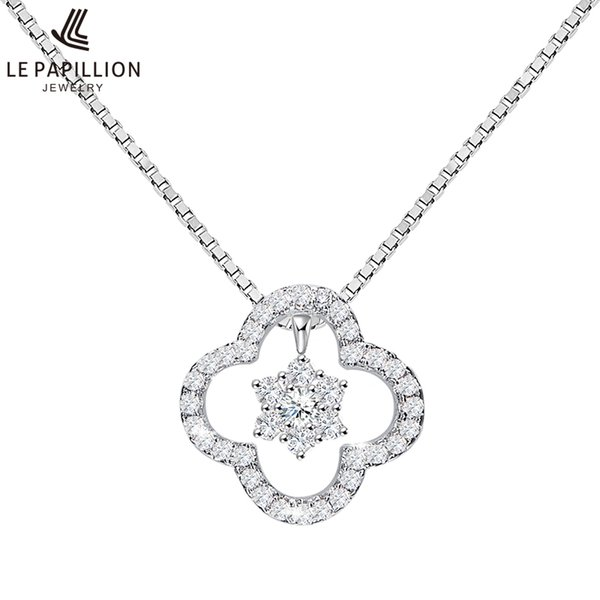LEPAPILLION Real 925 Sterling Silver Necklace For Women Fine Jewelry Classic Zircon Four Leaf Clover Pendant Necklace Collares