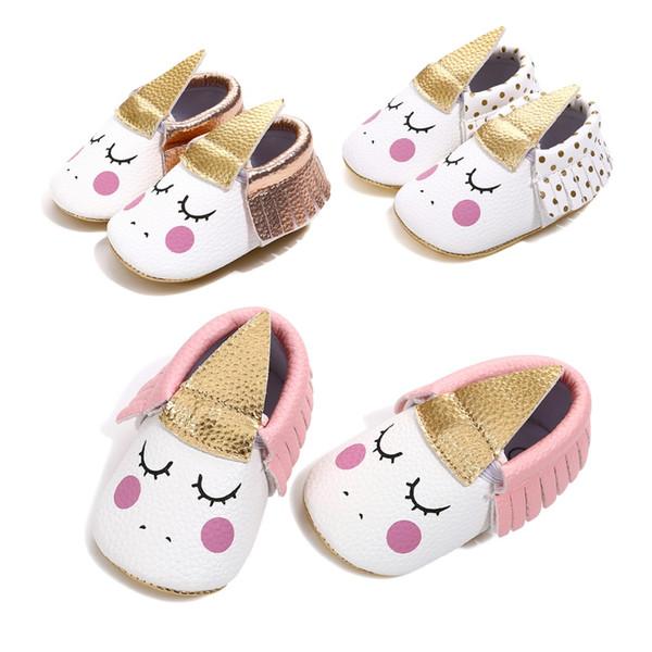 2018 cuir PU parti fait main bébé fille chaussures enfant en bas âge mocassins Blush Angle Licorne bébé semelle souple premier walker chaussure 0-18 mois