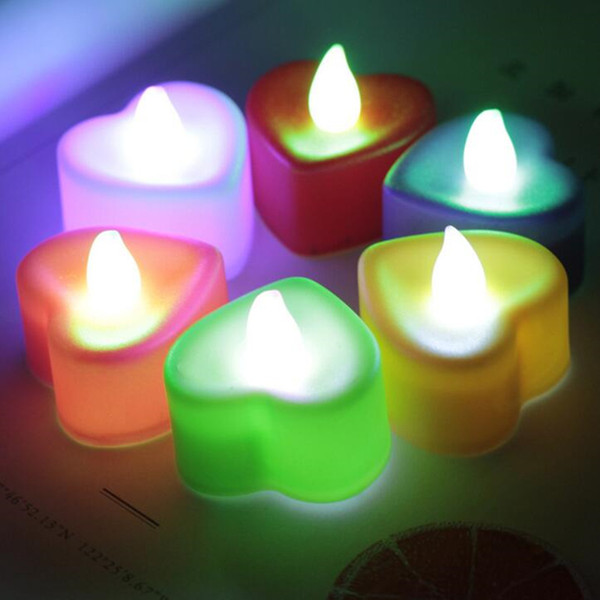 24pcs Heart shape LED Electronic Candle Light Multicolor decortaive light Lamp Flame Flashing Tea Light Wedding Party Decoration