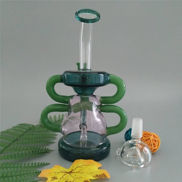Hot new recycler dab rig glass bong amazing function glass water pipe smoking bongs with one perc 14mm joint 8 inches tall (GB-358)
