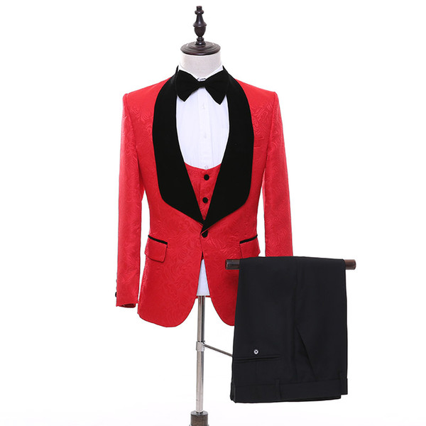 Red Men Suits for Wedding Black Shawl Lapel 3 Piece Groom Tuxedos Jacket Pants Vest Custom Made WH215