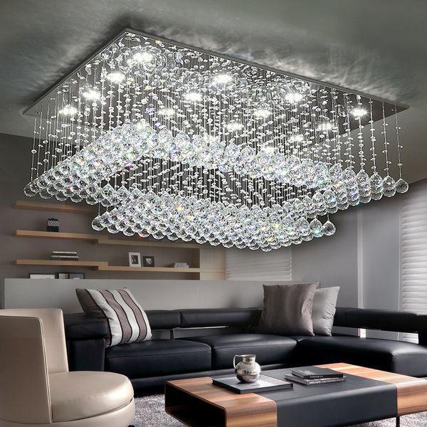 Contemporary Crystal Chandelier Light K9 Crystal Rain Drop Rectangle Ceiling Light Fixtures Flush Mount Led Lighting Fixture For Living Room