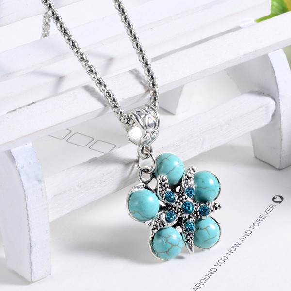 Fashionable Blue Beads Pendant Necklace Long Section Flowers Lovely Jewelry For Women Bohemia Choker Collar