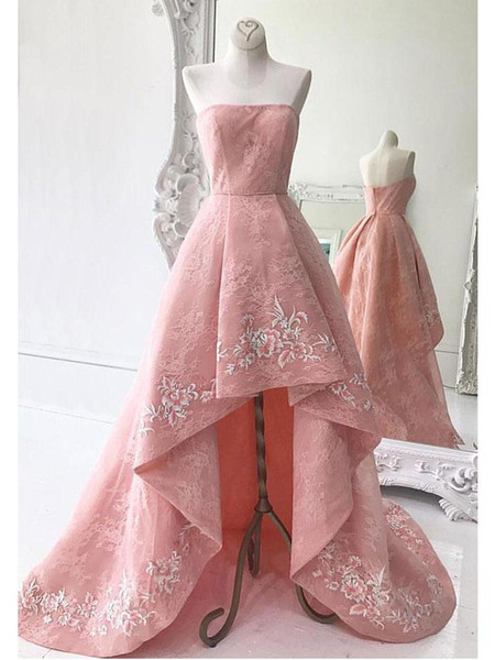 Real Photo Pink Lace Cocktail Dresses Short Front Long Back A Line Hi-lo Evening Gowns Special Occasion Women Party Dress Custom Made Online