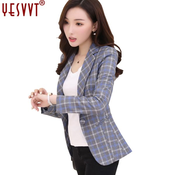 YESVVT 2018 nwe Long Sleeve Plaid Blazers Woman Slim OL Work Office Jackets Female Casual Ladies Pockets Outwear Coat size S-3XL S18101303