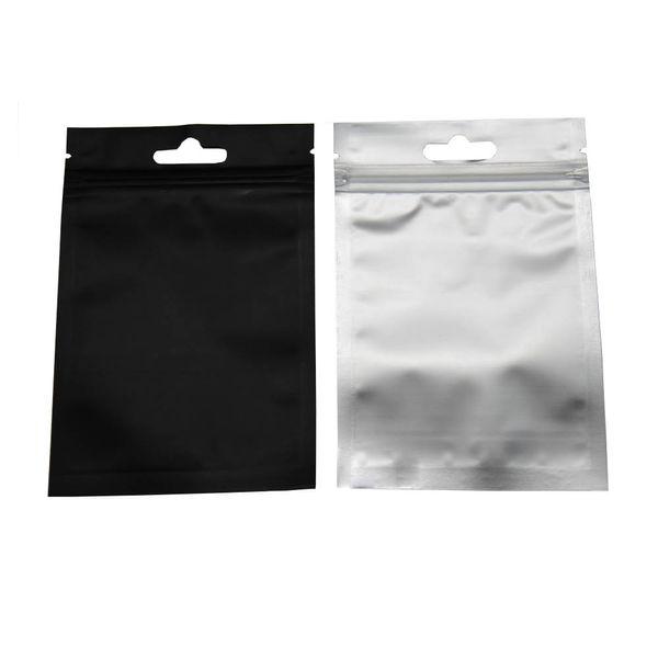 8.5 * 13 cm Preto Ziplock Reclosable Embalagem De Plástico Transparente Bolsa de Sacos De Armazenamento De Vedação Auto Sacos de 100 Pçs / lote Saco De Embalagem De Zíper De Folha De Alumínio