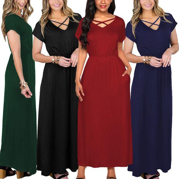 2018 Women Sexy Mercerized Cotton Solid Strappy V Neck Short Raglan Sleeve Peplum Long Party Prom Club Maxi Dress