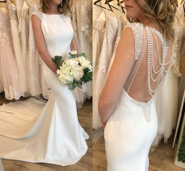 Fit-N-Flare Wedding Dresses 2018 Pearls Beading Sexy Back Court Train Real Model Photos Elegant Satin Sheath Garden Bridal Dress Custom Made