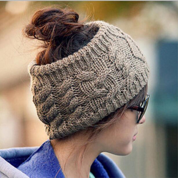 Korean Fashion Headband Warm Headgear Hat New Autumn And Winter No Top Twist Knitting Wool Hat Seven Color Acrylic Material
