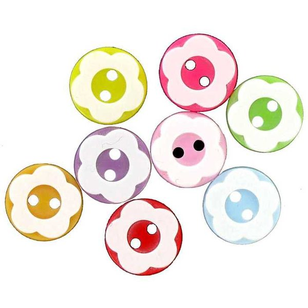 500pcs 13mm Mixed Resin Buttons Round with Flower 2-hole Sewing Dress Button Embellishments for Scrapbooking