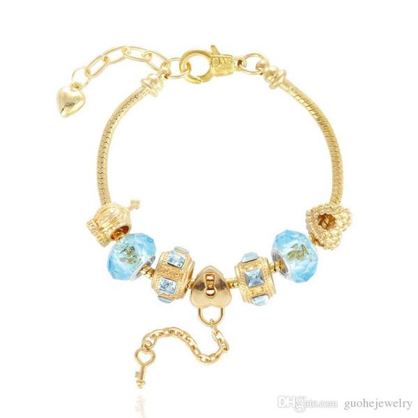 New charm bangle bracelets Gold plated heart shape bracelets large hole beads alloy bracelets free shipping