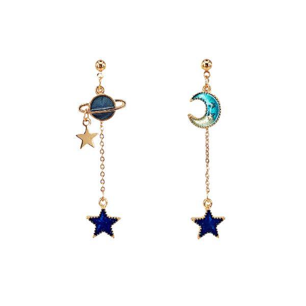 2018 New Creative Blue Universe Asymmetric Earrings For Girl Ear Accessories Cute Moon Star Drop Pendientes Tassel Brincos