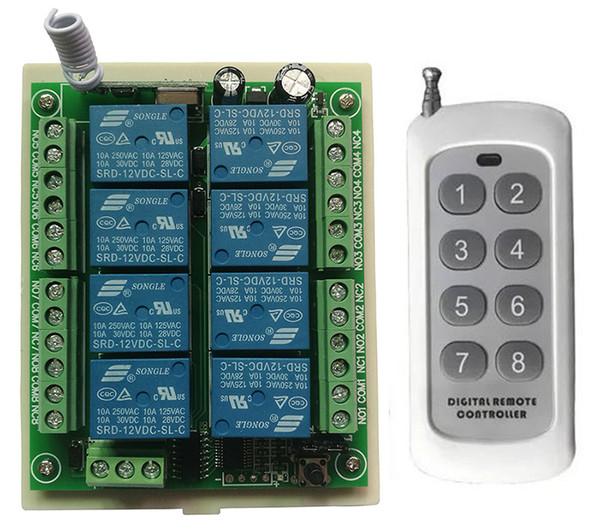 DC 12 V 24 V 8 Canais CH 8CH RF Interruptor de Controle Remoto Sem Fio Sistema de Controle Remoto receptor transmissor 8CH Relé 315/433 MHz