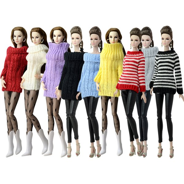 NK Fashion Doll Coat Pure Manual Clothes Knitted Handmade Sweater Tops Dress For Doll Gifts For Girls' Accessories