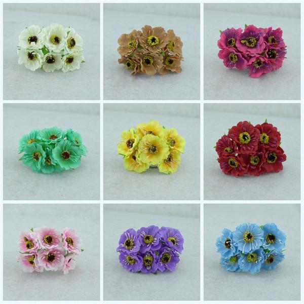 Silk Poppies Camellia Artificial Flowers Hand Made Small Wedding Decor Colorful Cloth Simulation Flower Bride Head Ornaments 18yc jj