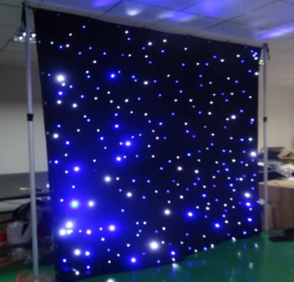 Free freight led star curtain 3mx8m wedding backdrop stage background cloth with multi controller dmx function LLFA