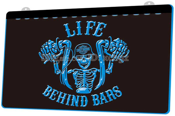 [F2490] Life Behind Bars Motorcycle NEW 3D Engraving LED Light Sign Customize on Demand 8 colors