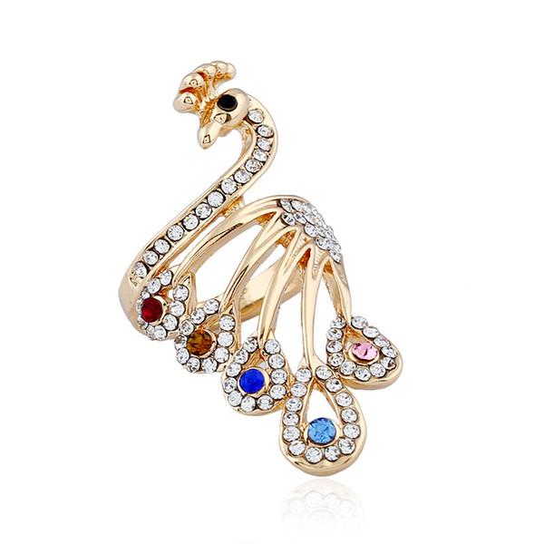 Beauty sweet women Tin alloy crystal jewelry ring wholesale Fashion temperament animal shape peacock diamond ring free shipping