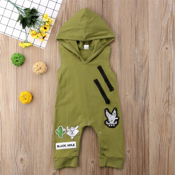 Cool Baby Boys Green Hooded Sleeveless Jumpsuit Romper Children Boy Sport Outfit Casual Bodysuit Playsuit Summer Kid Clothing 0-24M