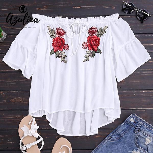 2018 New Off Blouse Shirt à épaules dénudées Femmes Floral Broderie Tops White Top Oversize Lace Up Haut Bas Haut Dames à Volants Blusas