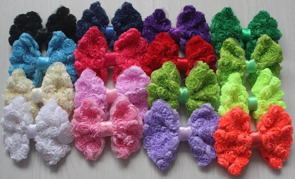 70pcs 4.5 inch large chiffon rosettes flower bow for baby girls hair accessories 23 colors to choose