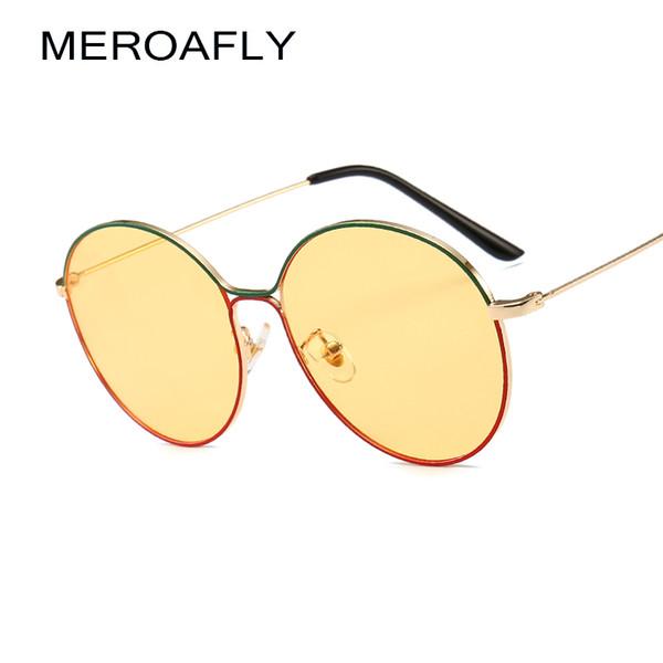 MEROAFLY Circular Óculos De Sol Das Mulheres Retro Vintage Moldura De Metal Ouro Azul Amarelo Vermelho Rodada óculos de Sol Para Homens Vintage UV400