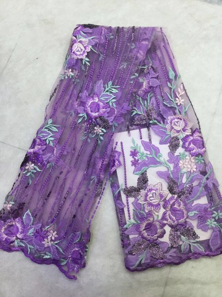 EPY1086 purple 3d flower lace french net lace with beads&stones embroidered tulle lace trim 2018 high quality 5yard/lot