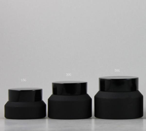 Neues Design 20 x 15G 30G 50G Frost Make-up-Glas mit schwarzen Deckeln weiße Dichtung Container Kosmetikverpackung, 15G Glas Cremetopf