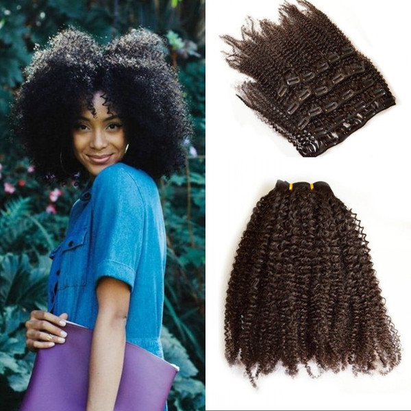 4a 4b Afro Kinky Curly Clip in Human Hair 7pcs/set Mongolian Hair Clip ins for Black Women G-EASY