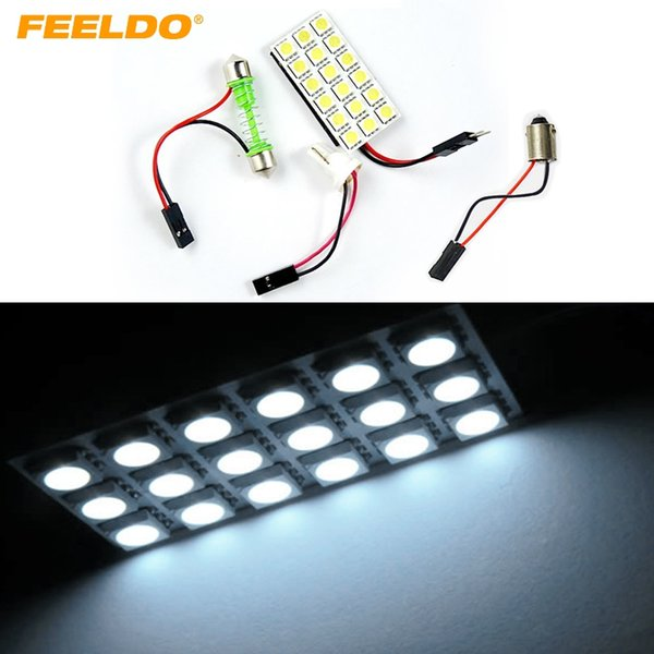 FEELDO 2Set White 5050 3-Chips 18SMD Panel de luz LED para automóvil con T10 / BA9S / Adaptador de festón Dome Bulb Lamp # 1518