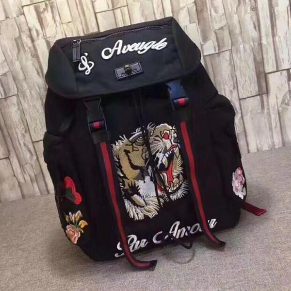 Tigre Bordado Techpack com bordado designer de luxo saco de viagem homem mochila Estilo sacos de ombro bolsa de livro
