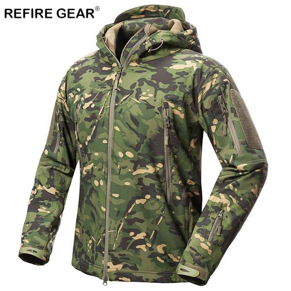 ReFire Gear Outdoor Soft Shell Jacket Men Waterproof Fleece Hunting Hiking Windbreaker Jacket Camp Camouflage Tactical Jackets Y1893006
