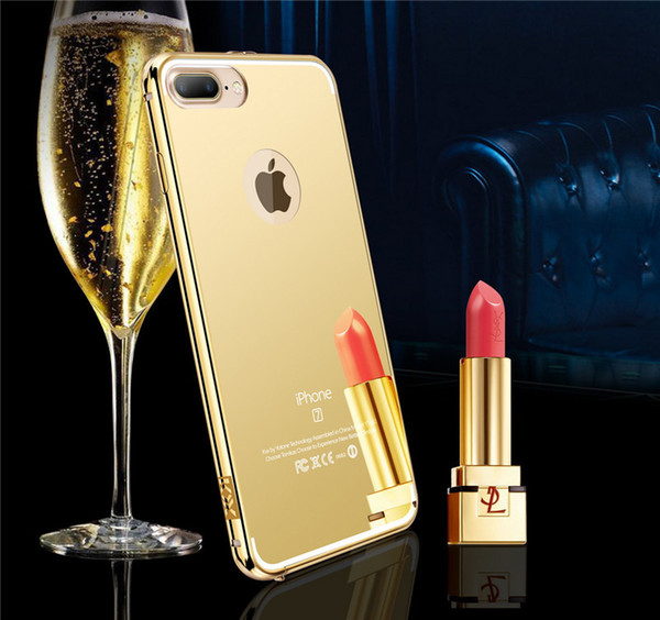 3 in 1 KXX Slim Luxury Glitter Bumper Metal Electroplating Mirror Back Cover Case for Iphone 5 6 6plus 6S 6Splus 7 7plus