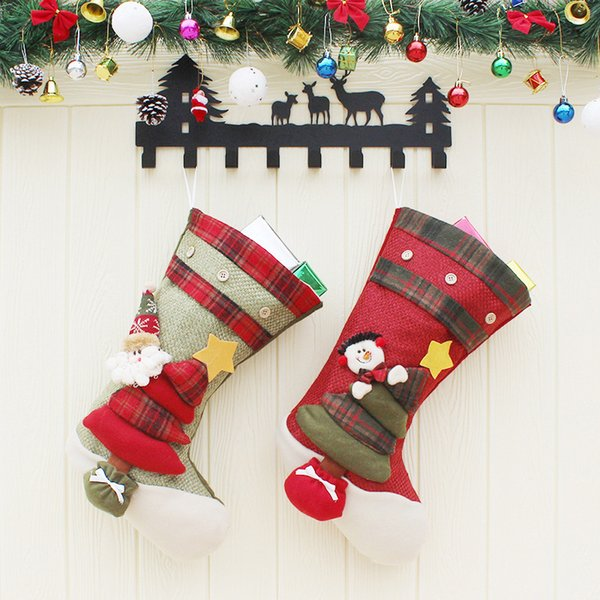 Santa Claus Socks Christmas Stockings Tree Decorations Hanging Decor Santa Claus Stocking Bags Candy Socks Snowman Gift