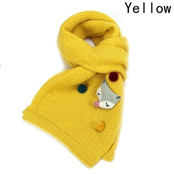 Children Scarf For Autumn Winter Boys Girls Fashion Warm Long Scarves Baby Cartoon Fox Knitted Scarf Comfortable Neck Warmers