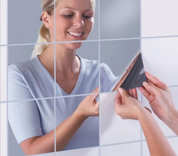 Nuovo arrivo di alta qualità 15 * 15 cm piastrelle quadrate specchio adesivi murali 3d decalcomania mosaico casa decorazione della stanza fai da te per soggiorno portico