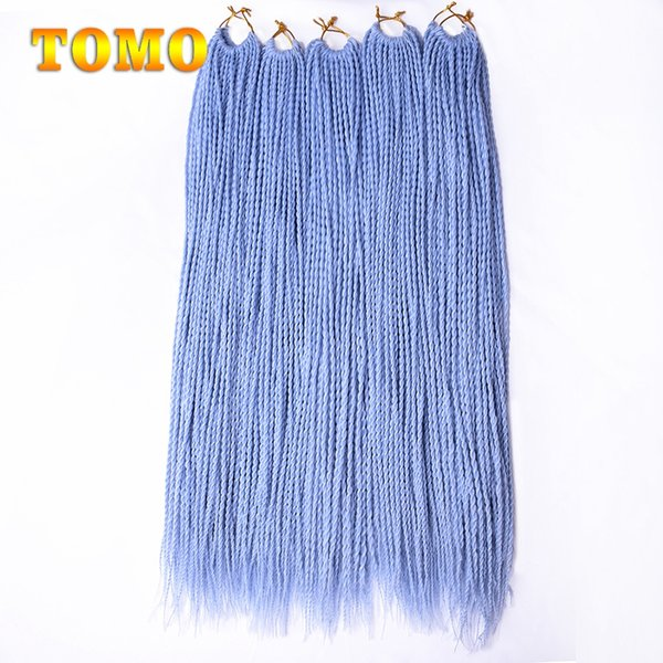 TOMO Senegalese Twist 24 inch long Pure/ombre blue Braided Hair Crochet Braids Kanekanlon Synthetic Hair Extensions For Woman 30 Roots/Pack