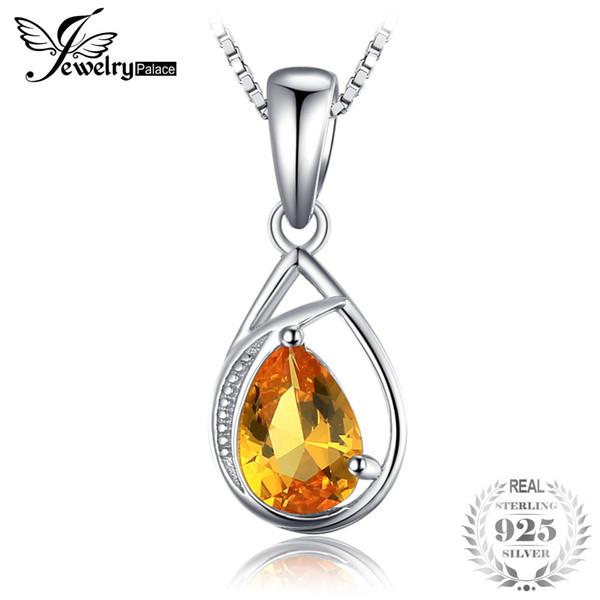 JewelryPalace Elegante 0.96ct creato arancione zaffiro collane pendenti 100% 925 sterling silver 45cm catena scatola per le donne regalo