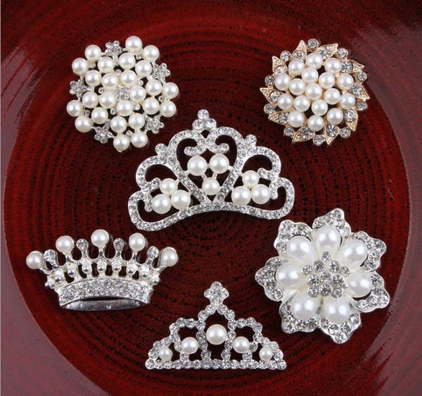Flat back Rhinestones pearl accessoires girls flowers crown shape bottons used on wedding 100pcs/lot kids DIY alloy brooch YA0392