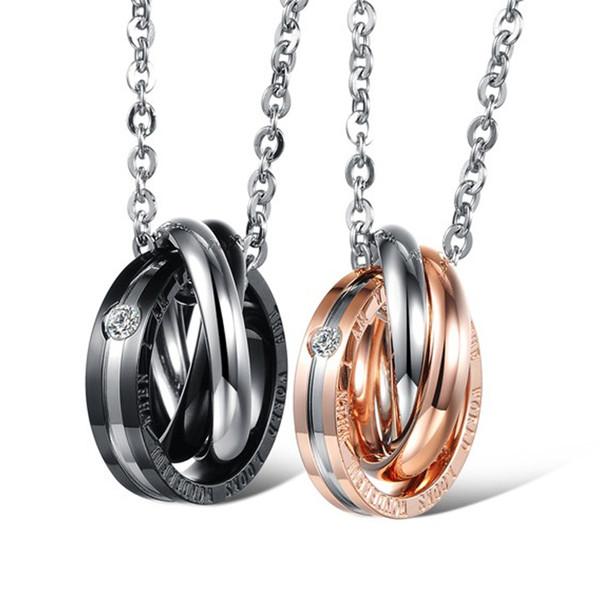 Moda Dual Circle Collana Pendente in acciaio al titanio Coppia gioielli in titanio San Valentino Presente Supporto FBA Drop Shipping H376F