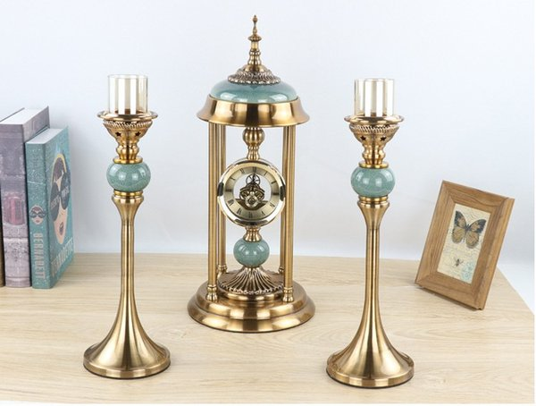 classical luxury wedding home table centerpieces decoration candlestick candle holder stand benroom furniture photo booth props tableclock
