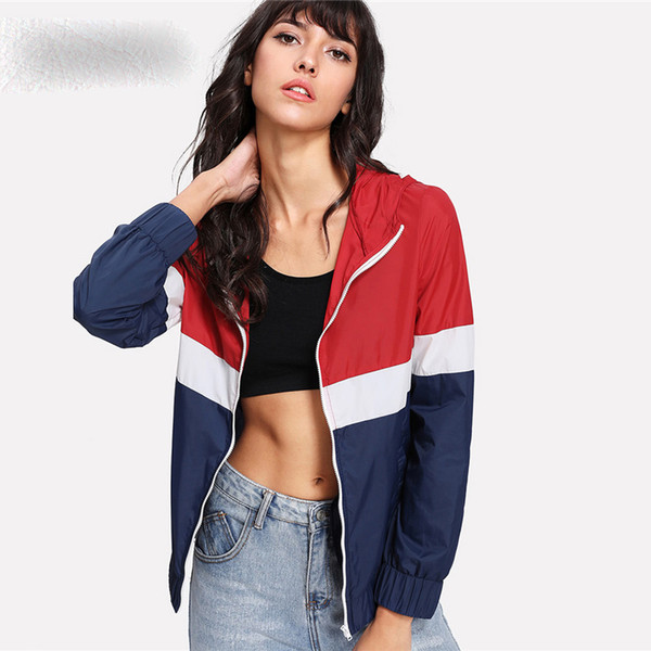 Kesim Ve Dikmek Hoodie Rüzgarlık Ceket Colorblock Fermuar Cep Coat Kadınlar Sonbahar Sporting Athleisure Ceket