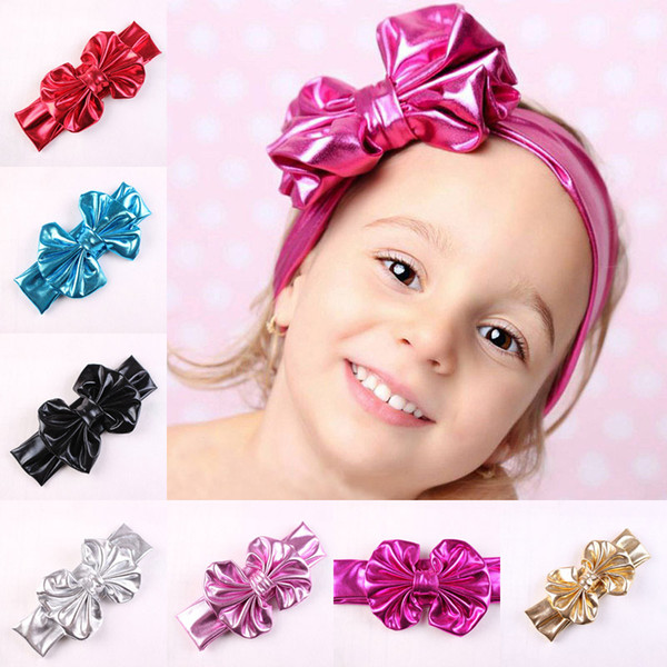 New Baby Girls Shine Bow Headbands Europe Style Big Wide Bowknot Hair Band 7 Colors Children Hair Accessories Kids Headbands Hairband