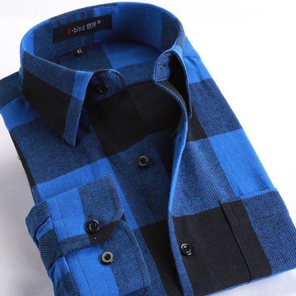 Cómodo 100% algodón hombres casual franela camisa tela a cuadros