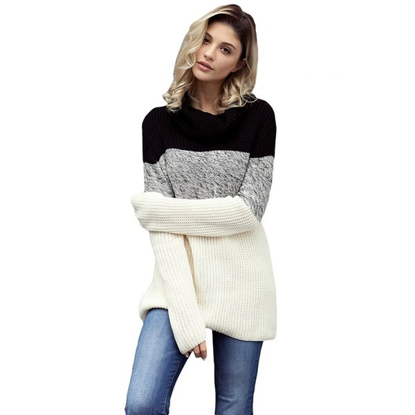 Designer Sweater Women Clothes Knitted Thick High Neck Patchwork Long Style Pullover 2018 Autumn Winter Acrylic Black Coffee Fashion Tops