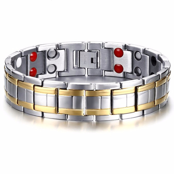 Unique Mens Watch Band Bracelet Mens Womens Silver Gold Stainless Steel Wristband Bangle Link Chain Bracelet15mm*21.5cm
