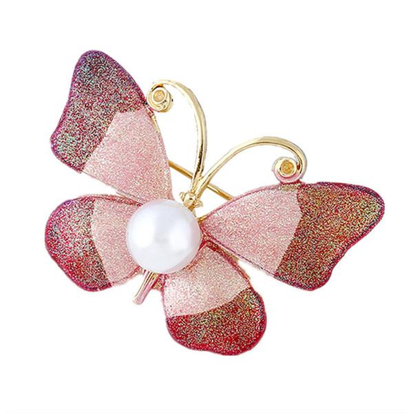 Großhandel 10pcs / lot Nachahmung Perlen Emaille Pin Schmetterling Broschen für Frauen Insekt Brosche Pins Großhandel