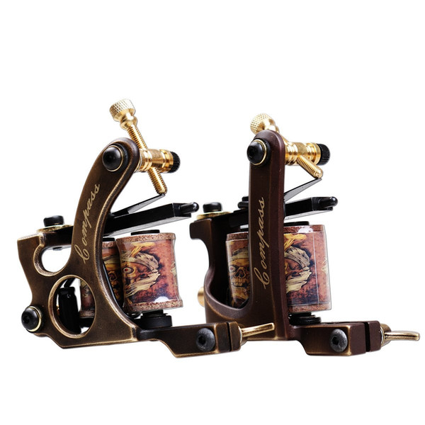 A pair of Liner and Shader Tattoo Machines Copper Frame Handmade Tattoo Gun Professional Tattoo Supplies